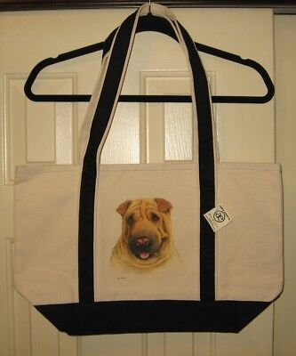 Shar Pei Large Heavy Canvas Tote Bag-New With Tags- Hand Painted - Very Cute!