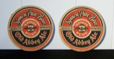 2 Simon Pure Old Abbey Ale Beer Coasters