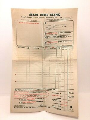 Vintage Sears Roebuck and Company 1950's Catalog Order and Loan Form BLANK