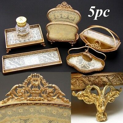 French Empire Style 5pc Desk Set, Inkwell & Stationery Stand, Lace & Gilt Ormolu