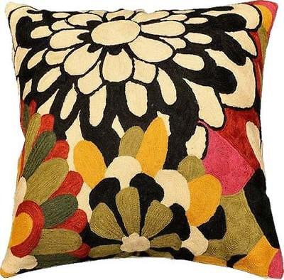 """Modern Floral Design Pillow Cover II Hand Embroidered Wool 18x18"""""""