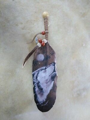 Hand Painted Feather ,  Wolf , Decor , Sepia , Southwest Art ,signed  #1