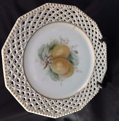 Vintage  Decorative Pierced Plate With Fruit Design Marked Ny.