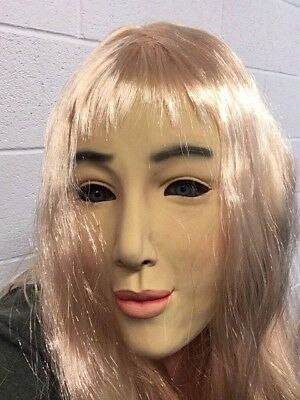 Female Latex Mask & WIG Fancy Dress Halloween Costume Living Dolls Crossdresser