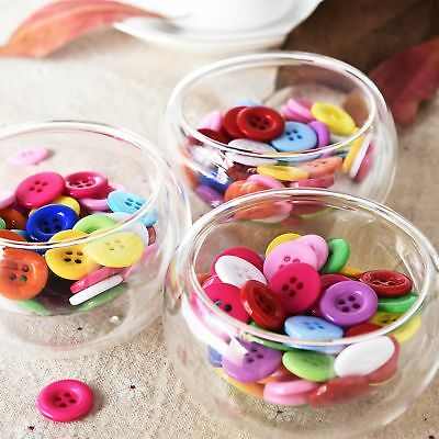 100 Pcs Mixed Color Round 4 Holes Resin Sewing Buttons Scrapbook DIY Crafts