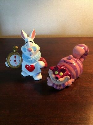 Alice In Wonerland Rare White Rabbit And Cheshire Cat Sugar And Creamer Set