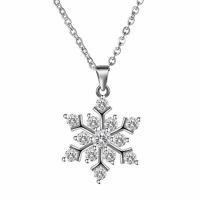 """Snowflake 925 Sterling Silver Cubic Zirconia Jewelry Pendant Necklace Chain 18"""""""