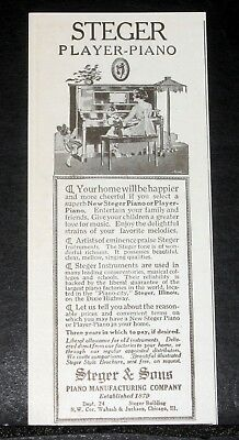 1917 Old Magazine Print Ad, The Steger Player-Piano, Your Home Will Be Happier!