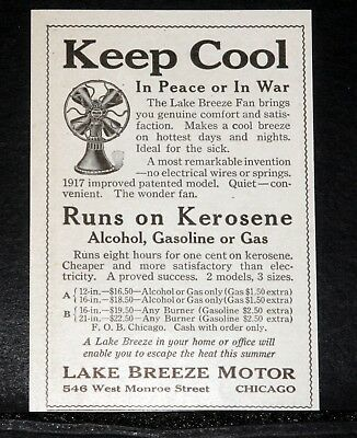 1917 Old Magazine Print Ad, Lake Breeze Fan, Runs On Kerosene, In Peace Or War!