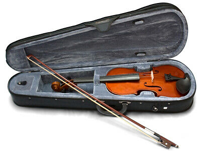 VALENCIA SV111 1/4 SIZE VIOLIN OUTFIT Solid Carved Top And  Back Poly Foam Ca...