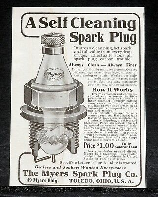 1919 Old Magazine Print Ad, Myers Self Cleaning Spark Plug, Porcelain Balls!