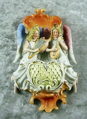 Beautiful Antique Estate Continental  Figural Bisque China Holy Water Font C1890