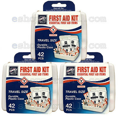 3 Pack 42 PC Essential First Aid Kit Emergency Bag Home Car Office Travel Size