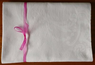 Vintage Tablecloth White Irish Linen Traditional Fine Dining Starched