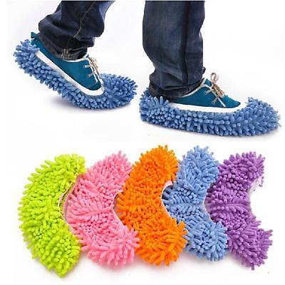1 Pair Washable Shoes Bath Floor Mop Cleaner Broom Dust Cleaning Grazing Slipper