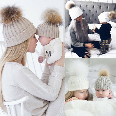 AU Women Mom Baby Girls Boys Knit Wool Pom Bobble Hat Winter Warm Beanie Caps