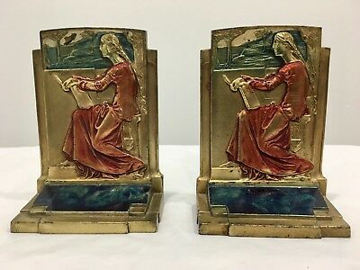 Meditation Pompeian Bronze Bookends Polychrome Marked Pair