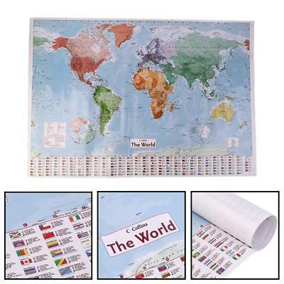 Map Of The World  Large Poster With Flags Wall Decor Print