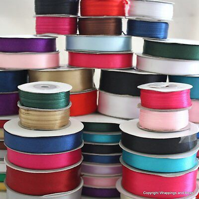 Satin Ribbon Double Sided Faced Full Reel 3 10 16 25mm x 25/50 mtrs Many Colours