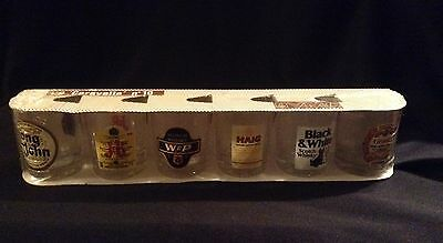 Vintage Whisky Shot Glasses with Labels by Reims Crystal France x6 Sealed Pack