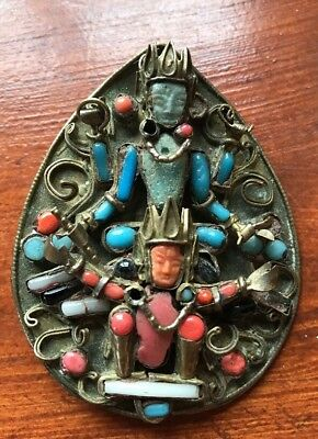Very Old Antique Rare Large Tibetan God Coral Turquoise Brooch