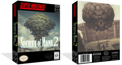 Secret of mana SNES Replacement Game Case Box + Cover Art work (No Game)