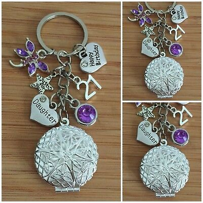 Personalised HAPPY BIRTHDAY Gift Charm Keyring 15th 21st 30th 40th For Her