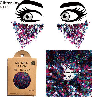 Body / face / hair glitter Mermaid Unicorn Fairy shimmer paint festival carnival
