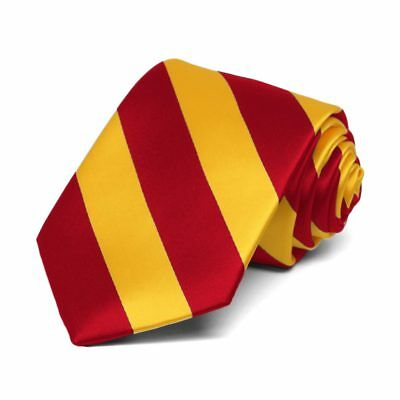 TieMart Boys' Red and Golden Yellow Striped Tie