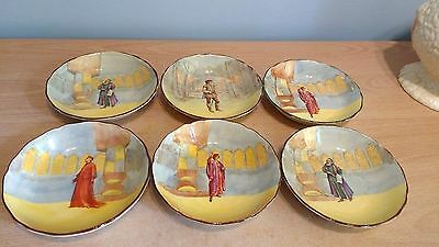 Royal Doulton D3596 Shakespearian Characters Series. 6 X Small Sweet Dishes. VGC