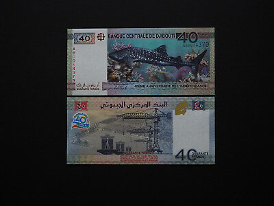Djibouti Banknotes 40 Francs Brilliant New Release  -  Commemorative   MINT UNC