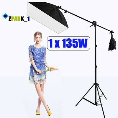 Heavy Duty Photo Studio 2in1 Combi Rotatable Boom Arm Light Stand Soft Box Kit