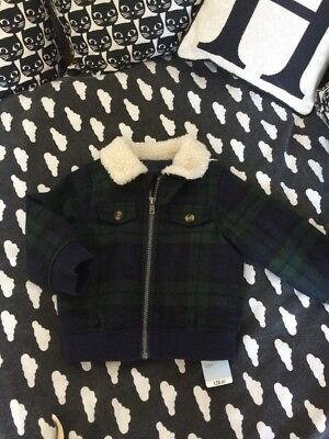 Mothercare Baby Boy Borg Lined Checked Coat BNWT 12-18 Months