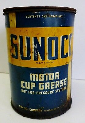 Vintage Sunoco Advertising Motor Cup Grease Can One Pound 1936 Automotive