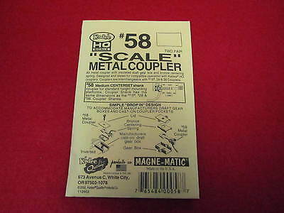 "Kadee HO Scale Metal ""Scale"" Knuckle Couplers - #58 Medium Centerset (2 pr)"