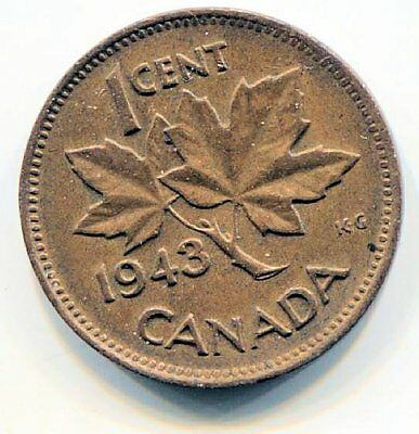 1943 Canadian 1 Cent Maple Leaf Penny Coin - Canada - King George VI