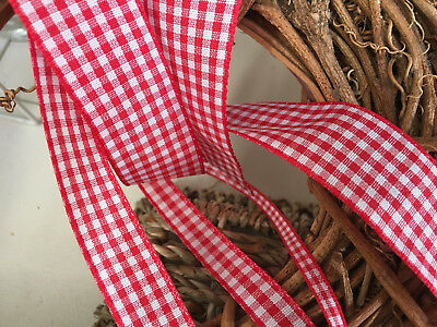 Berisfords UK Gingham Ribbon Shade 15 Red - Choose from 5/10/15/25/40 mm widths