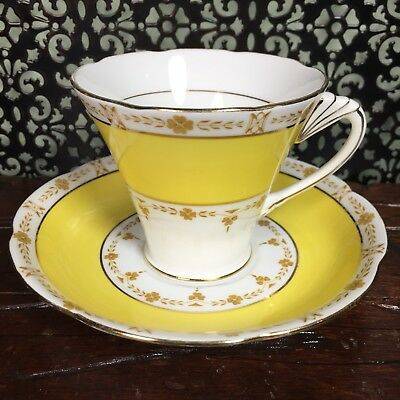 Pretty Yellow Art Deco Royal Grafton Bone China Tea Cup an Saucer Set Teacup