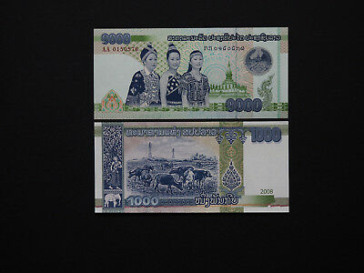 Laos Banknotes Beautiful 1000 Kip note Dated 2008   -   Great Design    MINT UNC