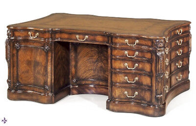 "Superb George III style ""Althorp Partners Desk"" Flame Mahogany 20th C"