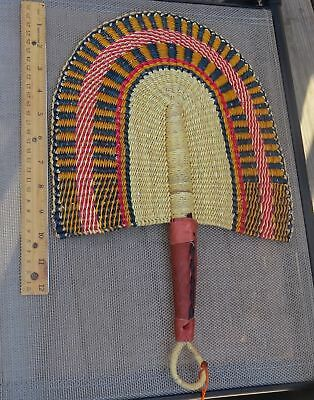 Fair Trade African Hand Woven Elephant Grass Fan with Leather Handle GO