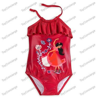 e1d9fd340a7b2 DISNEY Store SWIMSUIT for Girls ELENA OF AVALOR 1 Piece w/RUFFLE Select Size  NWT