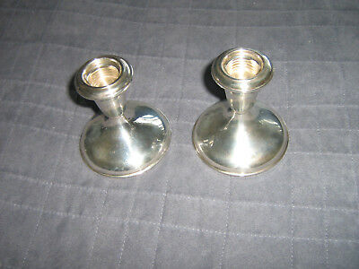 Classic sterling candlesticks, set of 2, 3.5 in high, 3.2 in diameter, weighted
