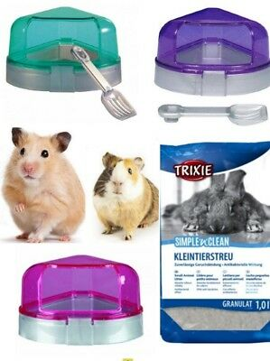 Hamster Gerbil Corner Litter Potty Toilet Tray with Removable Lid Small Animals