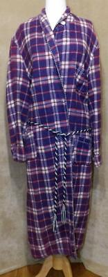 "MENS VTG 40s ""BEACON"" CABIN PURPLE PLAID FLANNEL BLANKET ROBE NEW OLD NWT LARGE"