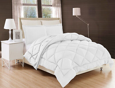 2/3PC Solid Reversible Stitched Quilted Down Alternative Bed Cover IN WHITE