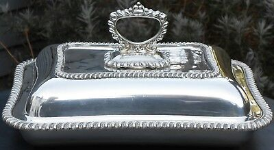 Antique Silver Plated Entree / Serving Dish - Pie Crust Rims