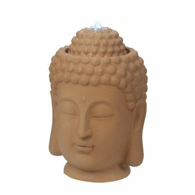 Indoor Outdoor Sculpted Ceramic Buddha Head Bust Electric Water Fountain NIB