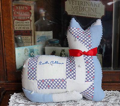 Antique Friendship Signature Quilt bedspread Kitty Cat Pillow Ruth 1936