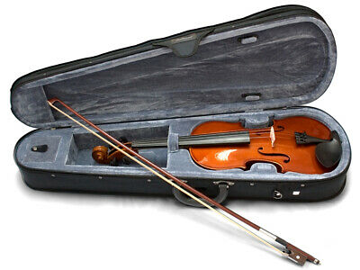 VALENCIA 1/10 SIZE VIOLIN OUTFIT SV109 Solid carved Top And Back Poly Foam Ca...